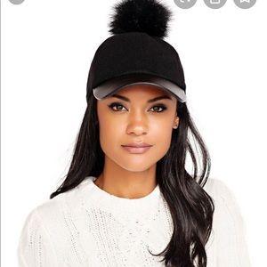 Black Baseball Cap W/ Faux Fur Pom Pom